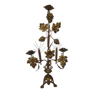 Italian Three-Candle Gold Tone Candleabra