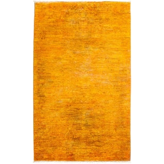 """New Hand-Knotted Overdyed Yellow Rug - 3'1"""" X 5'3"""""""