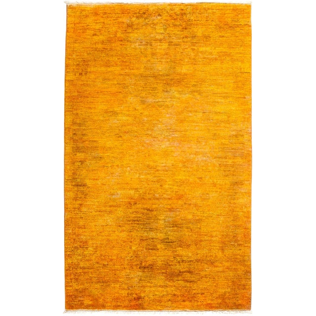 """New Hand-Knotted Overdyed Yellow Rug - 3'1"""" X 5'3"""" - Image 1 of 3"""