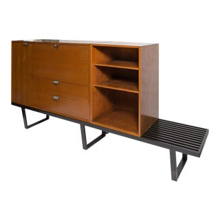 George Nelson Secretary and bookcase on black slatted bench