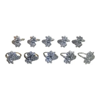 Vintage Grapevine Pewter Napkin Rings - Set of 10