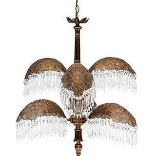 Brass Palm Frond Chandelier W/ Prisms
