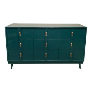 Mid-Century Glossy Teal Finish Dresser