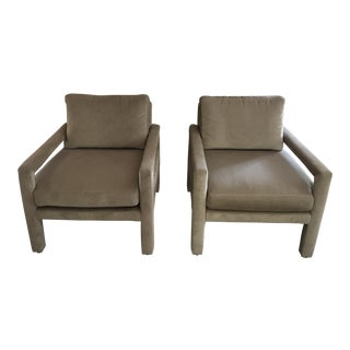 Milo Baughman for Drexel Greige Velvet Parsons Club Chair - A Pair