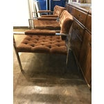 Image of Pair of Milo Baughman Chrome and Velvet Tufted Arm or Lounge Chairs
