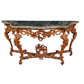 Very Large Mid-18th Century Italian Rococo Giltwood Green Marble Top Console