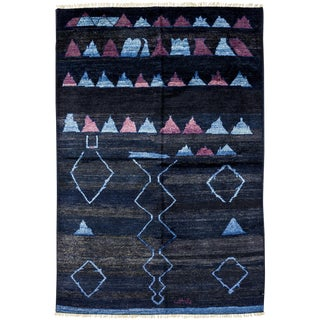 "Moroccan Navy Hand-Knotted Rug - 5'10"" x 8'10"""