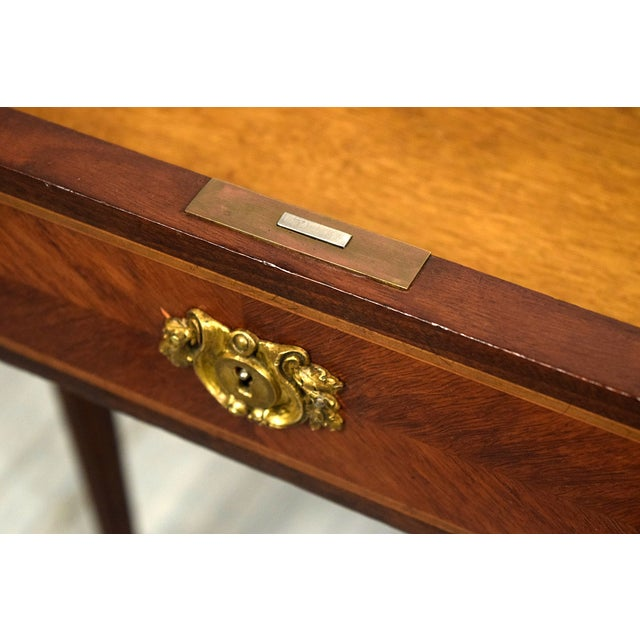 Image of French Louis XVI Mahogany Desk with Leather Top