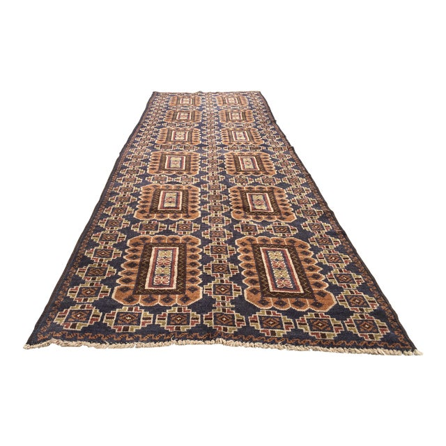 Baluchi Wool Rug Runner - 2′10″ × 9′6″ - Image 1 of 4