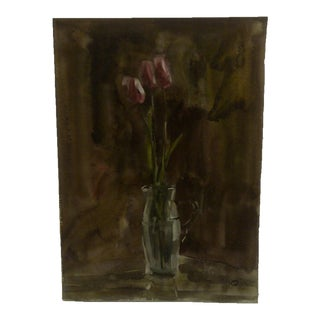 "R. Hopisu ""3 Flowers"" Original Painting on Paper"
