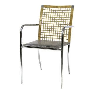Brazilian Modern Chrome Frame Armchair by Kehl in Leather & Wicker