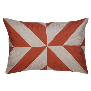 Coral and Gray Embroidered Linen Pillows, Leah - A Pair