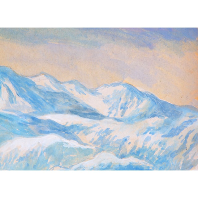 "Image of ""Violet Alaskan Skyline,"" Watercolor Painting"