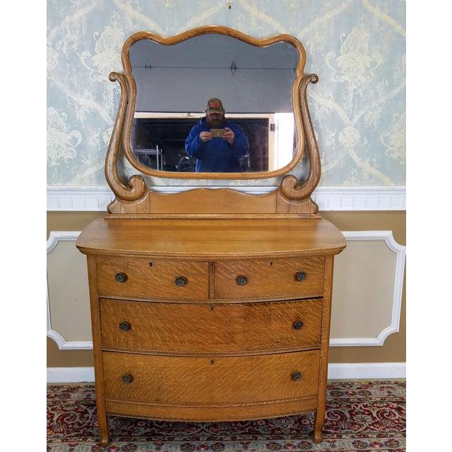 Antique Victorian Quartered Oak Dresser & Mirror - Image 2 of 9