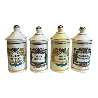 Mid Century Modern Apothecary Jars Herbalist Medicinal Jar Collection - Set of 4