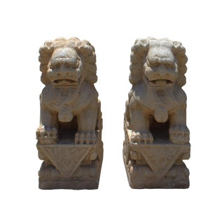 Chinese Distressed Marble Stone Fengshui Foo Dogs Statues - A Pair