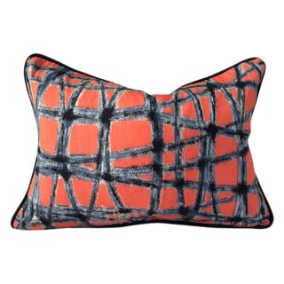 Mid-Century Abstract Navy & Coral Throw Pillows - A Pair
