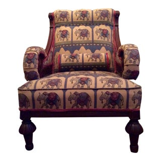 1800's Victorian Carved & Upholstered Armchair