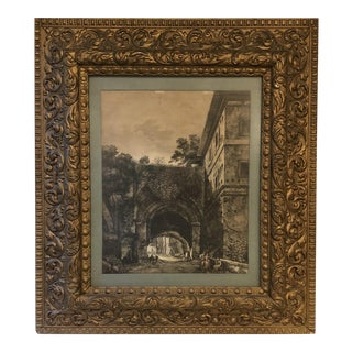 Framed French Scene Ink Drawing