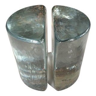 Blenko Mid Century Heavy Glass Bookends - a Pair