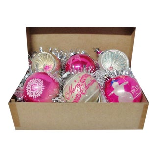 1960's Vintage Shiny Brite & Poland Pink Christmas Tree Ornaments - Set of 6