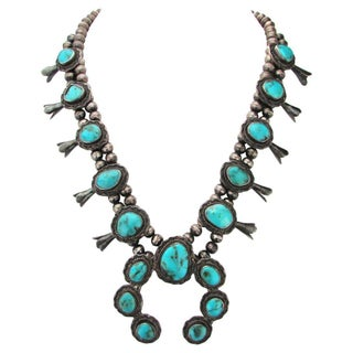 1960s Squash Blossom Turquoise Necklace