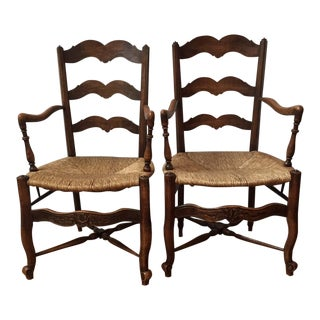 Rush Seat French Side Chairs - A Pair