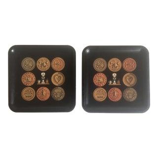 Vintage Mid-Century Black Square Enamel Metal Pharmacy Trays - Set of 2