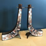 Image of Stone & Copper Mosaic Shabbat Candlesticks - A Pair