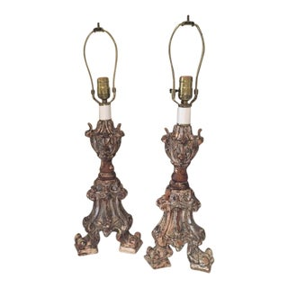 18th Century Gilt Wood Pricket Candlestick Lamps - A Pair