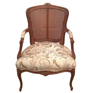 French Style Cane Back Accent Chair