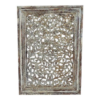 White Distressed Carved Wood Panel