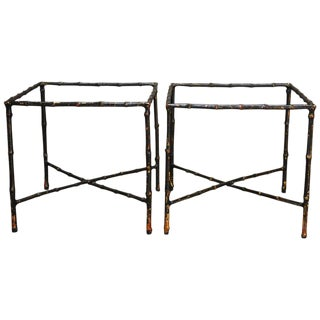Black Lacquered Faux Bamboo Gilt Drink Tables - A Pair