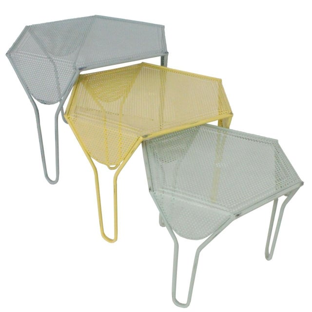 Image of Perforated Metal Canabey Tables - Set of 3