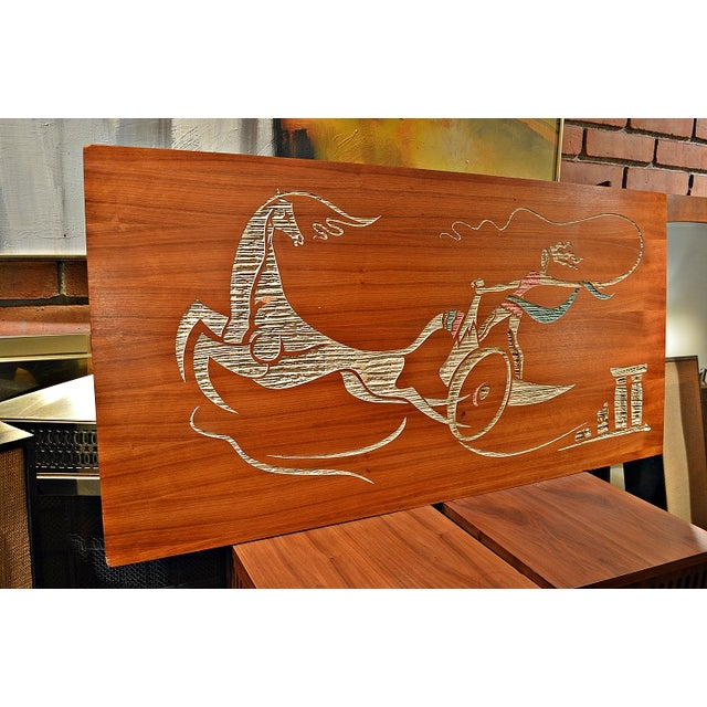 Mid Century Wood Wall Art - Female Chariot - Image 4 of 8
