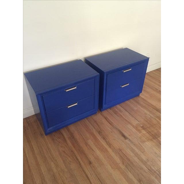Image of Vintage Stanley Sapphire Blue Nightstands - Pair
