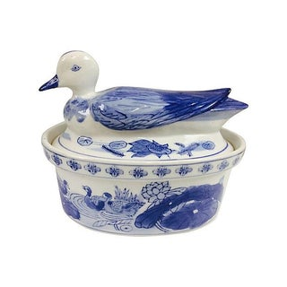 Blue & White Duck Tureen