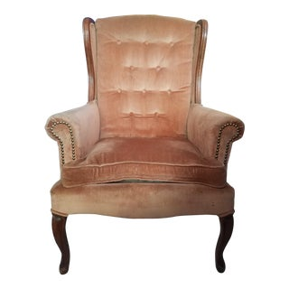 French Coral Velvet Wingback Chair