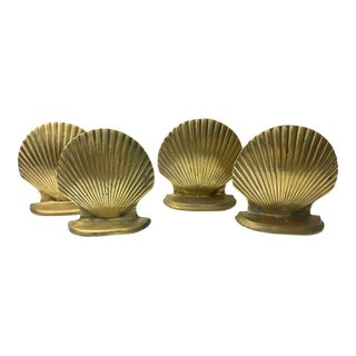Shell Shaped Brass Bookends - Set of 4