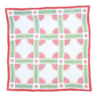 Handmade Red & Green Cotton Quilt