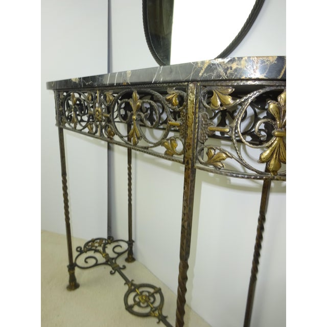Antique Oval Marble Console with Mirror - Image 8 of 11