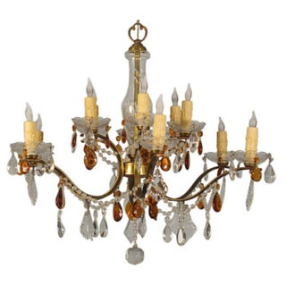 1920s French Crystal Chandelier
