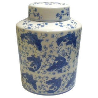 Blue & White Hand-Painted Ginger Jar