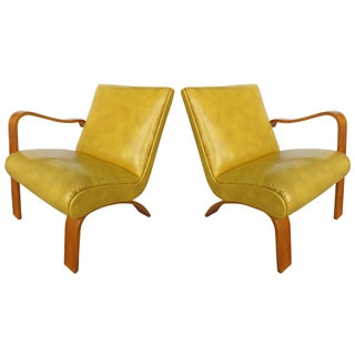 1940's Thonet Opposing Arms Bentwood Chairs - Pair