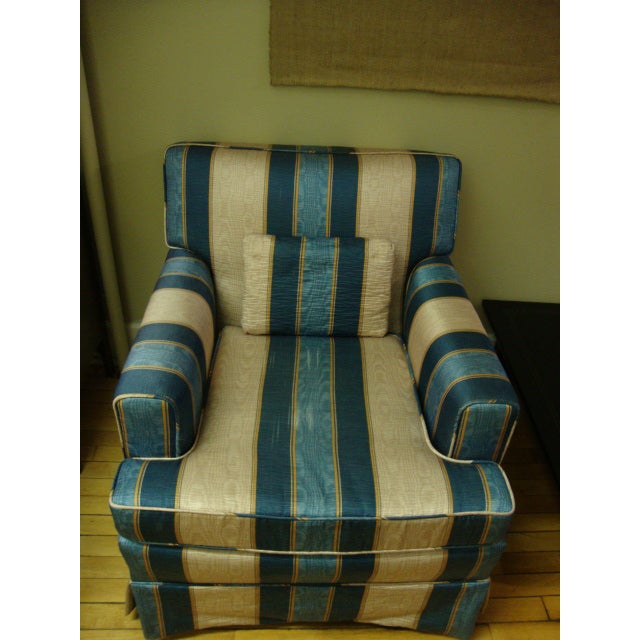 Vintage Moire Satin Armchair and Ottoman - Image 2 of 10