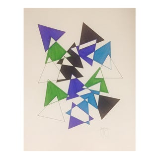 Colorful Modern Art Geometric Ink Drawing by Tony Curry