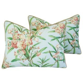 "24"" X 18"" Custom Tailored Schumacher Oleander Blossom Feather/Down Pillows - Pair"