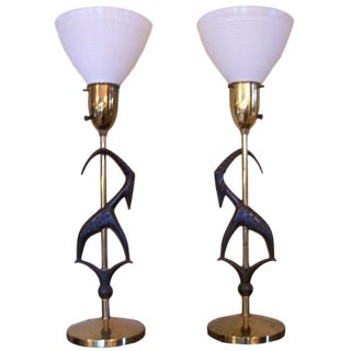 Pair of Antelope Lamps by Rembrandt w/ Original Vintage Shades