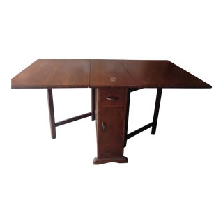 Mid-Century Modern Solid Teak Drop-Leaf Table