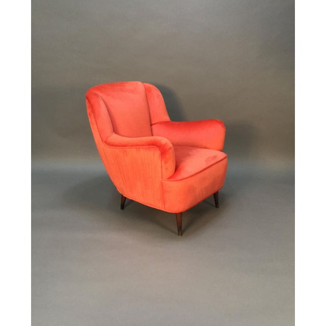 Mid Century Club Chairs With Velvet Pleat - Pair - Image 8 of 9